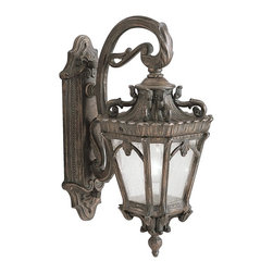 """KICHLER - KICHLER 9356LD Tournai Traditional European Outdoor Wall Sconce - With its heavy textures, dark tones, and fine attention to detail, the Tournai Collection stands out from other outdoor fixtures. Each piece is hand-made from cast aluminum, offering quality construction that is sure to withstand even the harshest of weather conditions. Our exclusive Londonderry finish and clear seedy glass panels give the piece its unique, aged look. If you want the classic profile of the wall lantern, this Tournai outdoor lamp deserves your attention. Its 1-light design uses a powerful 150-watt (max.) bulb to deliver excellent lighting for everyday use. Although it measures 18"""" high, the fixture is provided with variable height mounting hardware. Junction Box 5.75""""-11.75"""". It is U.L. listed for wet locations."""
