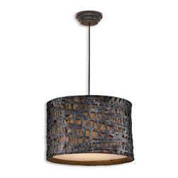 Uttermost - Uttermost Alita Drum Shade Pendant Light in Aged Black - Shown in picture: Aged Black Metal With Rust Accents And A Silkened Bronze Textile Liner. Aged black metal with rust accents.