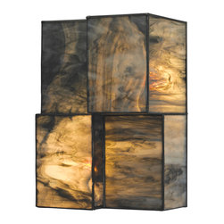 Elk Lighting - Elk Lighting Cubist Collection 2 Light Sconce In Brushed Nickel - 72070-2 - 2 Light Sconce In Brushed Nickel - 72070-2 in the Cubist collection by Elk Lighting Cubes of tiffany glass are assembled into a structure of offsetting staggered cubes, creating an innovative textural expression.  With hardware finished in Brushed Nickel, this series comes with a choice of white or limited edition dusk sky tiffany glass.   Wall Sconce (1)