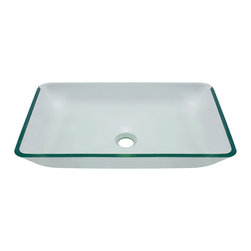 "MR Direct - MR Direct 640 Crystal Clear Colored Glass Vessel Sink, Sink Only, Sink Only - The 640-Crystal Clear Glass Vessel Sink is manufactured using fully tempered glass, which is non-porous, easy to clean and resistant to stains and odors. This rectangular vessel sink is made with clear glass, which will look great in any bathroom. A corresponding Glass Waterfall Faucet is available with this sink, which includes a matching disc and your choice of chrome, brushed nickel or oil rubbed bronze faucet. The overall dimensions for the 640-Crystal are 22 3/8"" x 14 1/4"" x 4 1/4"" with a 24"" minimum cabinet size. As always, our glass sinks are covered under a limited lifetime warranty for as long as you own the product."