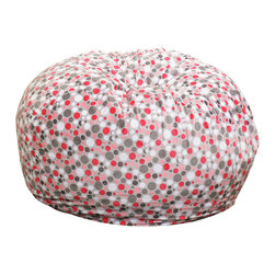 Great Deal Furniture - Ashley 3-Ft Grey Pink Bubble Dot Fabric Bean Bag Chair - Lounge in style with the Ashley 3-foot grey pink fabric bean bag. This unique pattern and plush fabric makes this an inviting piece for any child or adult. Its microfiber bubble dot pattern fabric is soft to the touch and the fun colors will pop among almost any decor. Made in the United States with an eco-friendly foam filler, this bean bag offers a luxurious and comfortable option to your in home lounging experience.