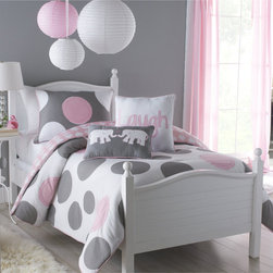 None - Big Believers Pink Parade 2-piece Twin-size Comforter Set - Upgrade your child's bedroom with this lovely twin-size comforter set. Featuring a whimsical pink-and-gray polka dot design,it is the perfect way to add a bit of charm to their space. This two-piece set includes the comforter and a standard sham.