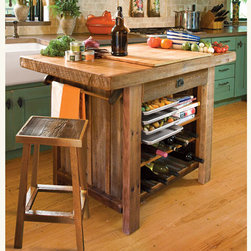 American Barn Wood Kitchen Island - If you are the ultimate homemaker, this kitchen island is for you. It has storage for spices, a magnetic strip for knives and hooks for pots. I love the rustic reclaimed wood, as it has an all-American barn look.