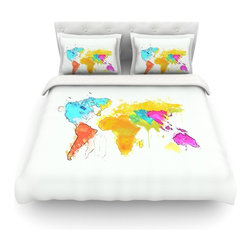 """Kess InHouse - Oriana Cordero """"World Map"""" Rainbow White Cotton Duvet Cover (Twin, 68"""" x 88"""") - Rest in comfort among this artistically inclined cotton blend duvet cover. This duvet cover is as light as a feather! You will be sure to be the envy of all of your guests with this aesthetically pleasing duvet. We highly recommend washing this as many times as you like as this material will not fade or lose comfort. Cotton blended, this duvet cover is not only beautiful and artistic but can be used year round with a duvet insert! Add our cotton shams to make your bed complete and looking stylish and artistic! Pillowcases not included."""