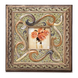 "Traders and Company - Enamel Inlaid 3x3 Wood Picture Frame w/ Jewels, 7""Lx1""Wx7""H - San Simeon - Crafted from wood and given a classically antiqued look, each frame is dramatically inlaid with swirled resinous enamel. Embedded colorful rhinestone jewels dot the design, adding sparkle and shimmer to your photos. Each frame comes with an attached kickstand for desktop use, or hooks for vertical or horizontal wall hanging. Fits 3""x3"" photos. Alternate shapes & styles sold separately. Dimensions: 7""Lx1""Wx7""H"