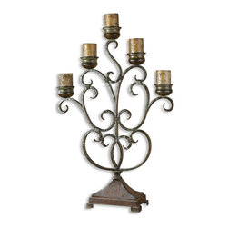 Uttermost - Juliana Metal Candelabra - Light up a beautifully antiqued candelabra and you're sure to be in for a romantic evening. The rustic charm of this hand-forged piece is the ultimate accent piece for your credenza or side table. It arrives with the candles included; all you need are the matches and a special occasion. What are you waiting for?