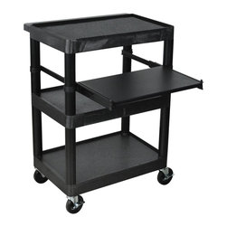 Luxor Furniture - Heavy Duty AV Cart w 3 Shelves - Adjustable keyboard shelf. Surge electric. Four 4 in. casters, two with locking brake. Three outlet 15 ft. cord. Stain, scratch, dent and rust resistant. Versatile laptop or standard computer workstation for stand-up applications. Black color. 24 in. L x 15.75 in. D x 34 in. H. Warranty. Assembly Instructions