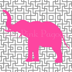 Pink Elephant Silhouette On Gray Lattice By The Pink Pagoda - Here's an elephant silhouette to match your space! These elephants come in so many cute colors.