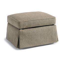 Jessica Charles - Trisha Ottoman - Napa Champagne Fabric - Handmade in North Carolina using local, sustainable hardwood.  Artisan upholstery and custom fit cushions.  Eight-way hand tied coils.
