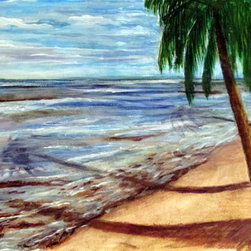 Playa Chatarra (Original) by Edna Santiago - On the northern shores of Puerto Rico there are strips of beaches for every taste. I  chose this one to swim in and paint due to its impressive reef that keeps the area safe from the strong waves in a salt water lagoon. I am fascinated by the shadows cast upon the sand by all the Palm trees, colors in the sky and waters.