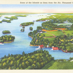 Stomping Grounds - Some Of The Islands As Seen From The Air, Thousand Islands, N.Y. - 1937 souvenir postcard image. Original printed on linen, which gives our reproductions added depth.