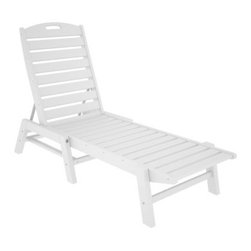 POLYWOOD® Nautical Recycled Plastic Armless Chaise - Take a comfortable nap in the sun with the Polywood Nautical Recycled Plastic Armless Chaise. With its convenient length and wide variety of color options, the chaise is an essential for those long summer days. Made from 100% recycled plastic, the armless chaise resists inclement weather elements, mildew, and warping. That means your chaise lounge chair will last for the years to come. Add a comfortable cushion for enhanced relaxation. This chaise lounge lays flat and is stackable for your convenience. Weight: 50 pounds. Dimensions: 27W x 78.5D x 39H inches.About PolywoodThe advantages of Polywood recycled plastic are hard to ignore. Polywood absorbs no moisture and will NOT rot, warp, crack, splinter, or support bacterial growth. Polywood is also compounded with permanent UV-stabilized colors, which eliminates the need for painting, staining, waterproofing, stripping, and resurfacing. This material is impervious to many substances, including saltwater, gasoline, paint, stains, and mineral spirits. In addition, every Polywood product comes with stainless steel hardware.Polywood is extremely easy to clean and maintain. Simple soap and water is all you need to get rid of dirt and make your furniture look new again. For extreme cleaning needs, you can use a 1/3 bleach and water solution. Most Polywood furnishings are available in a variety of classic colors, which allow you to choose your favorite or coordinate with the furniture you already have. This is sure to be a piece that you will be proud to own for a lifetime.