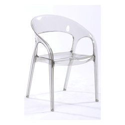 White Line Imports - Orti Clear Plastic Chair (Set of 4) - This versatile set of chairs can be used in dining room, living room or any other space of your house. The set includes 4 modern chairs made of clear polycarbonate plastic.