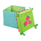 HABA Rose Fairy Seating Cube - The padded lids are comfortable to sit on and inside there is lots of room for building blocks, snuggling animals or secret treasures. With frilly border.