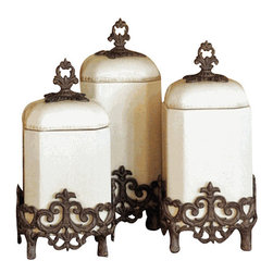 "Provencial Kitchen Canisters-Set of 3 - Provencial Kitchen Canisters Dimensions: (Sm) 7""w x 7""d x 14""h (Md) 7""w x 7""d x 15""h (Lg) 7""w x 7""d x 16""h Provencial Canister - Cream Ceramic with Brown Metal Base, Care: Ceramic is dishwasher safe, but recommend to handwash oversized pieces and metal, in mild soap and dry with a soft cloth"