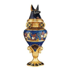 Design Toscano 17H in. Grand Anubis Lidded Urn - The generously sized Design Toscano 17 in. Grand Anubis Lidded Urn is a collectible Egyptian-style urn that pays homage to Anubis the god of admission to the underworld. Detailed with the rich history and culture of an ancient civilization, this decorative urn is cast in quality resin and hand-painted in a bright Egyptian color palette.About Design ToscanoDesign Toscano is the country's premier source for statues and other historical and antique replicas, which are available through the company's catalog and website. Design Toscano's founders, Michael and Marilyn Stopka, created Design Toscano in 1990. While on a trip to Paris, the Stopkas first saw the marvelous carvings of gargoyles and water spouts at the Notre Dame Cathedral. Inspired by the beauty and mystery of these pieces, they decided to introduce the world of medieval gargoyles to America in 1993. On a later trip to Albi, France, the Stopkas had the pleasure of being exposed to the world of Jacquard tapestries that they added quickly to the growing catalog. Since then, the company's product line has grown to include Egyptian, Medieval and other period pieces that are now among the current favorites of Design Toscano customers, along with an extensive collection of garden fountains, statuary, authentic canvas replicas of oil painting masterpieces, and other antique art reproductions. At Design Toscano, attention to detail is important. Travel directly to the source for all historical replicas ensures brilliant design.