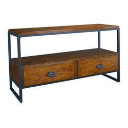 """Hammary - Hammary Baja Entertainment Console Table - Entertainment Console Table belongs to Baja collection by Hammary From a million forgotten attics and sleepy antique stores, we rescued the beauty and charm of another era - early 20th-century industrial America. We brought those vibrant times to life once again through our fabulous """"Baja"""" group. This stunning collection resurrects the simplistic lines and understated elegance that were the trademark of an earlier booming America, when anything seemed possible. Each piece features the finest ash veneers and alluring metals and a solid, sturdy construction that would make any craftsman proud. Heavy industrial casters on select tables add a touch of panache to the original design. The heavily distressed Vintage Umber finish with rustic distressed metal accents creates an authentic, unforgettable look. With """"Baja"""" from Hammary, your home will feel like a brighter and bolder place. It will feel like the America of a hundred years ago - optimistic, welcoming and full of endless possibilities."""