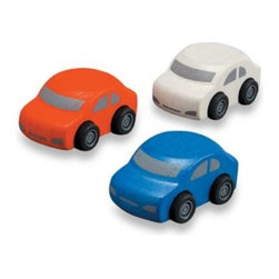 Plantoys - PlanToys Family Cars (Set of 3) - This set of three colorful cars will have your little one driving around in circles! They are a wonderful addition to the PlanToys Parking Garage, sold separately.