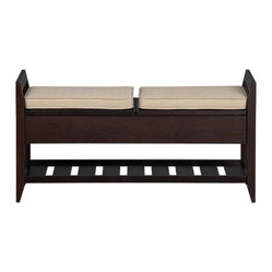 Addison Storage Bench with Cushion - Modern cushioned bench makes a smart perch in the entry, under a window or by the bedwith bonus hidden storage. Bench seat lifts up on either side to reveal storage area; one fixed slatted shelf below. Two cushions in heather beige add extra comfort.