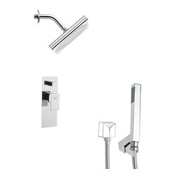 Remer - Square Modern Shower Faucet Set with Handheld Shower - Single function shower faucet.