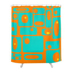 Crash Pad Designs - Mid Century Modern Shower Curtain - Earl - Mod geometric shapes make such a fun pattern to feature in your bathroom decor, and this shower curtain will provide bright sophistication, setting the tone for the whole room! This vibrant curtain is made from 100 percent polyester, and features 12-stitched button holes for hanging.