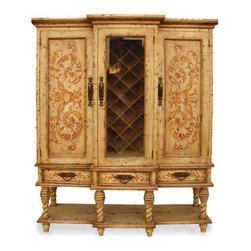 Essex Manor Wine Cabinet, Mocha Distressed with Espresso and Gold Scrolls - Essex Manor Wine Cabinet, Mocha Distressed with Espresso and Gold Scrolls