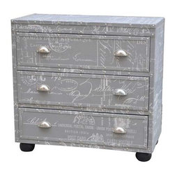 Fleur De Lis Grey 3 Drawer Nailhead Chest - Fleur De Lis Grey 3 Drawer Nailhead Chest 31.5 x 15 x 30.5