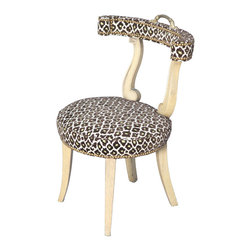 Mid-Century Cockfighting Chair - Just like my own wardrobe, I can't stop at only one leopard piece for the home. I could see this chair looking beyond perfect at a vanity or dressing table. Love!