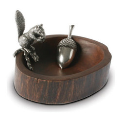 Squirrel Nut Bowl With Scoop - A charming and slightly insouciant, pewter squirrel snacks on a nut while perching on our hand-finished mango wood bowl. Cleverly crafted to appear as a hollow in a log, our designers carefully planned the bowl to hold a perfect amount for a medium sized gathering. A delightful way to serve nuts or trail mix, you might want to warn your guests to be quick as the squirrel appears ready to snatch up the treats before they will be able to!