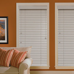 """Blinds.com Wood Blinds - 2"""" Deluxe Wood Blinds. Whites and off-whites,Neutrals a - 2"""" Deluxe Wood Blinds - Buy with Confidence, Get Free Samples Today!Get beautifully finished custom wood blinds at a much lower price than major brands with the 2"""" Deluxe Wood Blinds from Blinds.com. The 2"""" Deluxe Wood Blind is one of the best value wood blinds we offer. Made from premium solid North American basswood, these authentic wood blinds are light, warp resistant and easy to clean. Come standard with a decorative 3"""" valance.  Install Time: 15 minutesWe Recommend:"""