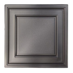 """Stratford Vinyl Ceiling Tile - Faux Pewter - Perfect for both commercial and residential applications, these tiles are made from thick .03"""" vinyl plastic. Their lightweight yet durable construction make these tiles easy to install. Waterproof, these tiles are washable and won't stain due to humidity or mildew. A perfect choice for anyone wanting to add that designer touch at an amazing price."""