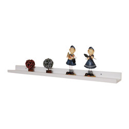 "Welland - Photo Ledge Picture Display Shelf 48"" - No more sweating bullets every time a guest gets too close to your miniature teacup collection. This super skinny shelf with a handy front lip keeps your favorite photos and treasures secure. Or use it to keep your most delicate baubles safe and sound while still allowing you to show them off like a proud parent."
