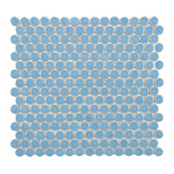 Somertile - SomerTile 12.25x12-in Penny 3/4-in Lite Blue Porcelain Mosaic Tile (Pack of 10) - Create a dynamic backsplash or floor in your home with these colorful porcelain mosaic tiles. Each set comes with ten tiles featuring small blue circles that add a bright and cheerful look to a fireplace,patio,or anywhere else you want some color.