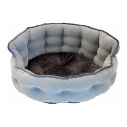 Paws & Claws - Paws & Claws Franklin Textured Solid Tufted Headboard Pet Bed - 59-20301BAK - Shop for Beds Covers and Fill from Hayneedle.com! With the Paws & Claws Franklin Textured Solid Tufted Headboard Pet Bed in your laundry room living room or bedroom to provide your puppy or small breed dog with a comforting place of their own to curl up. Its round shape is achieved thanks for a firm soft fill material made from recycled polyester. The high tufted back wall brings to mind classical headboards and provides a sturdy surface for your pet to snuggle against. Plush 100% micro-suede polyester is used to weave the cover boasting lock-stitch seams to promote a long-lasting design. Choose between silver or bark color covers (subject to availability). A zippered design allows you to remove the cover and run in through your washer.About Paws and Claws Pet SupplyPaws and Claws knows that their customers value their pets as much as their own family. That's why each or their products are design to be the best combination of comfort and safety making sure your furry friend is properly outfitted. Leashes collars pet beds and toys for both cats and dogs are just some of the products provided by Paws and Claws. Each of their products is designed manufactured and sold exclusively in America meaning you won't run into inferior craftsmanship or health/safety issues that can arise when purchasing from international vendors. Recycled materials are used to reduce the amount of waste produced.