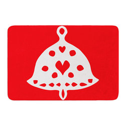 """KESS InHouse - Miranda Mol """"Jingle Bell Red"""" Holiday Memory Foam Bath Mat (24"""" x 36"""") - These super absorbent bath mats will add comfort and style to your bathroom. These memory foam mats will feel like you are in a spa every time you step out of the shower. Available in two sizes, 17"""" x 24"""" and 24"""" x 36"""", with a .5"""" thickness and non skid backing, these will fit every style of bathroom. Add comfort like never before in front of your vanity, sink, bathtub, shower or even laundry room. Machine wash cold, gentle cycle, tumble dry low or lay flat to dry. Printed on single side."""