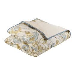 Mystic Home - Cumberland - Duvet Cover by Mystic Home, Super King - The Cumberland Duvet Cover is crafted from a blue / tan / gray floral cotton, reversing to a solid off-white cotton, and finished with a blue flower flange; it has a hidden zipper and interior ties in each corner to hold the duvet fast;