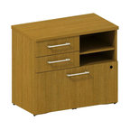 """Bush - Bush 300 Series Lower Piler and File Cabinet in Modern Cherry - Bush - Filing Cabinets - 300SFP30MC - Don't let work pile up! Versatile go-anywhere BBF Modern Cherry 300 Series 30""""""""W Lower Piler/Filer Cabinet offers open and concealed storage. Flexible multi-functional lateral file drawer holds letter- legal- or A4-size files. Open cubby with one adjustable shelf lets you stack books papers and more. Solid sturdy top surface allows heavy loads without sagging. Tough edge banding resists dents dings nicks scrapes and collision impacts. Diamond Coat(TM) top surface is scratch/stain resistant. Includes BBF Limited Lifetime warranty."""