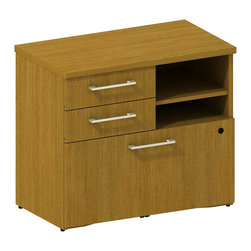 "BBF - Bush 300 Series Lower Piler and File Cabinet in Modern Cherry - Bush - Filing Cabinets - 300SFP30MC - Don't let work pile up! Versatile go-anywhere BBF Modern Cherry 300 Series 30""""W Lower Piler/Filer Cabinet offers open and concealed storage. Flexible multi-functional lateral file drawer holds letter- legal- or A4-size files. Open cubby with one adjustable shelf lets you stack books papers and more. Solid sturdy top surface allows heavy loads without sagging. Tough edge banding resists dents dings nicks scrapes and collision impacts. Diamond Coat(TM) top surface is scratch/stain resistant. Includes BBF Limited Lifetime warranty."