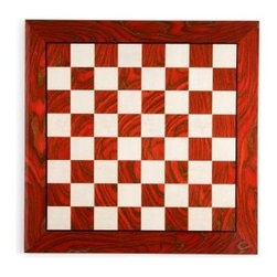 Cambor - Inlaid Briarwood Chess & Checker Board in Red & White - Bold and dynamic with an opulent red and white color palette, this stunning briarwood game board will be a stylish platform for treasured chess pieces. Crafted of inlaid briarwood, the board is polished to a luxurious shine and is made by artisans in Italy for long lasting value. Made of Wood. Made in Italy. Red/White color. Squares 2 in.. 20 in. L x 20 in. W x 0.625 in. H (8 lbs.)