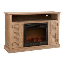 Savannah Media Electric Fireplace, Weathered Oak
