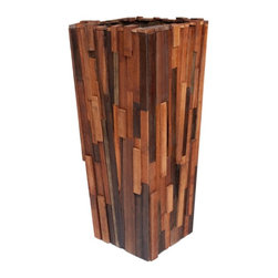Rotsen Furniture - Salvaged Wood Planter, Short - If you've got a passion for the repurposed, this piece belongs in your favorite setting. Salvaged wood of different species is transformed into an impressive patchwork planter, perfect for your ecoconscious contemporary decor.