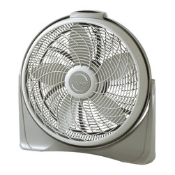 "Lasko - 20"" Cyclone with Remote Control, Wall mount ability 3-Speeds - The Lasko 3542 20 In. Diameter Cyclone Pivot Fan, with Multi-Function remote control, converts easily from wall mount option to floor use. This fan is a great addition to your air conditioning or can be directed at you for immediate heat relief. Three Whisper-Quiet high-Performance speeds, aerodynamic fan blades and a special swirling grill design combine for power and performance matched only by a cyclone itself! The adjustable Fan-Head rotates up to 90 degrees and then locks into place for precision comfort. The convenient 8-Hour auto off timer saves you money by conserving energy. This fully assembled fan is portable and easy to use with controls located on top of its Easy-Carry handle.20 in. aerodynamic blade and swirling grill design combine for power and performance"