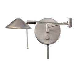 """Lite Source - Lite Source LS-16350 Swing Arm Wall Sconce from the Rhine Collection - *Wall Lamp  This family of lamps use halogen bulbs for very good illumination, whether in the bedroom with the wall lamp or in the family room with the floor lamps. The desk lamp easily lights up any work area, while all pieces have an antique brass finish which blends well into any d�cor.  35W Halogen JC/G6.35  Type Bulb  (Bulb Included)  Shade Dimensions: 2"""" x 4.5""""  With plug in wire."""