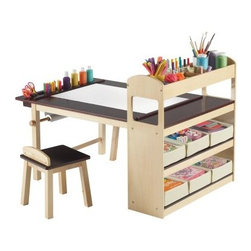 Guidecraft Deluxe Art Center - The Guidecraft Deluxe Art Center is loaded with great features that will keep your kids inspired. This art center has a large 47 x 30-inch tabletop paper roll holder canvas storage bins top storage cubbies and more. The Deluxe Art Center creates the perfect setting for drawing crafts and all sorts of creative activities. The table has solid wood legs with durable birch plywood surfaces a smooth UV-coated top and storage cubbies. A paper roll holder underneath the table accepts up to an 18-inch roll and even comes with a starter roll of art paper. The attached shelving unit has four shelves with 6 canvas storage bins to keep things tidy. This complete set even comes with two stools with a 12-inch seat height. Designed for kids ages 3 and older. Some assembly is required. Inspire your little artists! About GuidecraftGuidecraft was founded in 1964 in a small woodshop producing 10 items. Today Guidecraft's line includes over 160 educational toys and furnishings. The company's size has changed but their mission remains the same; stay true to the tradition of smart beautifully crafted wood products which allow children's minds and imaginations room to truly wonder and grow. Guidecraft plans to continue far into the future with what they do best while always giving their loyal customers what they have come to expect: expert quality excellent service and an ever-growing collection of creativity-inspiring products for children.