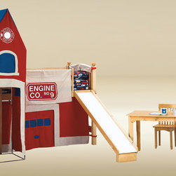 Kids Bed - This multi-colored junior fire station loft bed turns your kids bedroom into fun time. This junior loft bed feature a twin upper bed, open space below, slide and a Fire station tower. This loft bed features square posts, and under-bed slat support system. The top bunk features safety rails on all sides, and metal to metal connection for strength and durability.