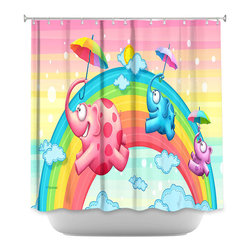 DiaNoche Designs - Shower Curtain Artistic - Rainbow Elephants - DiaNoche Designs works with artists from around the world to bring unique, artistic products to decorate all aspects of your home.  Our designer Shower Curtains will be the talk of every guest to visit your bathroom!  Our Shower Curtains have Sewn reinforced holes for curtain rings, Shower Curtain Rings Not Included.  Dye Sublimation printing adheres the ink to the material for long life and durability. Machine Wash upon arrival for maximum softness. Made in USA.  Shower Curtain Rings Not Included.
