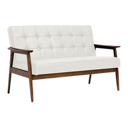 Baxton Studio - Stratham White Midcentury Modern Sofa - Make overly-stuffed sofas with a distinct lack of style a thing of the past when you welcome the Stratham Mid-Century Modern Sofa into your home. We're confident you will agree that the beautiful, dark-stained wood frame adds a high level of character to this contemporary living room furniture piece. The white faux leather seat is not only a contrast to the frame, but also packs a punch with great button-tufted detailing and comfortable foam cushioning. The Chinese-made sofa is fully assembled and should be wiped clean with a damp cloth. A matching white Stratham Club Chair is also available as is a black version of both pieces (each sold separately).
