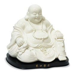 "China Furniture and Arts - White Porcelain Happy Buddha W/Stand - He is a symbol of happiness, wealth and an innocent contented joy. The stroking of Buddha's belly is said to signify bountiful wealth and prosperity. Believed to bring much luck, the laughing Buddha must always be invited into his new home, resulting in positive Chi and much happiness in return. Hand crafted in pure white porcelain, a wooden stand with a calligraphy inscription is included. The inscription translates to ""happy everyday""."