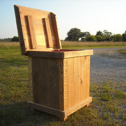 Clothes hamper/ trash bin - Clothes hamper to store all you dirty clothes leading up to laundry day, or it can fit a standard garbage can to hide the sight and smell of the daily trash. Made with reclaimed barn wood from the north Georgia area.
