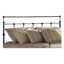 Fashion Bed - Fashion Bed Winslow Metal Headboard in Mahogany Gold Finish-Queen - Fashion Bed - Headboards - B42155 - Classic lines on a sparsely ornamented yet stylish frame make the Winslow headboard an ideal addition to a bedroom designed in a minimalist traditional style. With thin spindles across the frame and an extended crown the Winslow provides simple elegance.